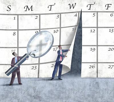 Glass Wall Digital Art - Calendar by Steve Dininno