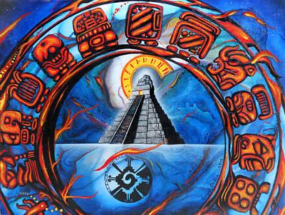 Mayan Painting - Calendario Maya by Angel Ortiz