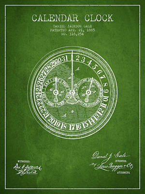 Calender Clock Patent From 1885 - Green Art Print by Aged Pixel