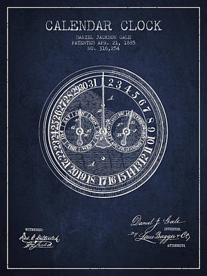 Calender Clock Patent From 1885 - Navy Blue Art Print by Aged Pixel