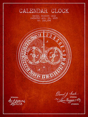 Calender Clock Patent From 1885 - Red Art Print by Aged Pixel