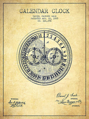 Calender Clock Patent From 1885 - Vintage Art Print by Aged Pixel