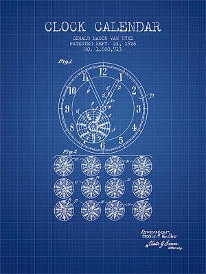 Calender Clock Patent From 1926 - Blueprint Art Print by Aged Pixel