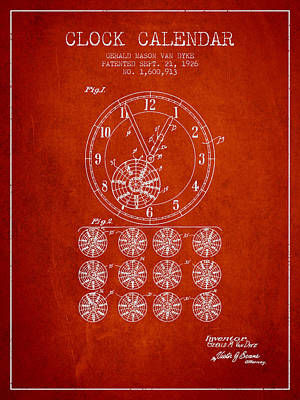 Calender Clock Patent From 1926 - Red Art Print by Aged Pixel