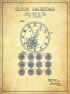 Calender Clock Patent From 1926 - Vintage Art Print by Aged Pixel