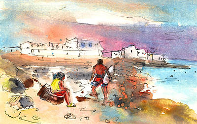 Surfing Drawing - Caleta De Famara 01 by Miki De Goodaboom