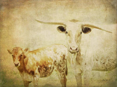 Photograph - Calf And Cow Vintage Style  by Ann Powell