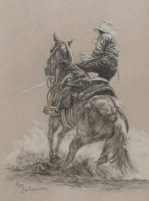 Rodeo Art Drawing - Calf Roper by Pam Earleywine