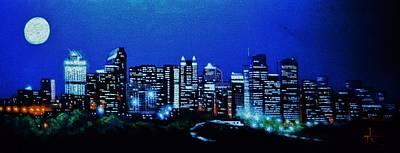 Calgary Canada In Black Light Art Print