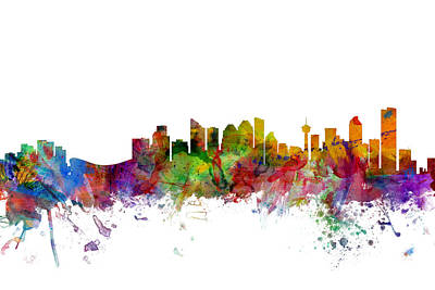 Calgary Digital Art - Calgary Canada Skyline by Michael Tompsett