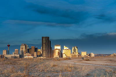 Calgary Skyline Sun Reflections Art Print