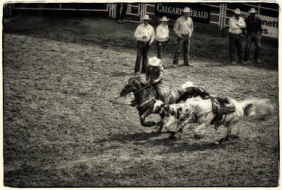 Calgary Stampede Black And White Art Print