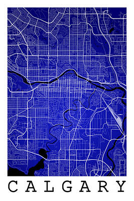 Calgary Digital Art - Calgary Street Map - Calgary Canada Road Map Art On Colored Back by Jurq Studio
