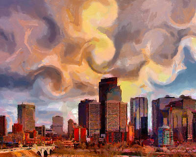 Calgaryskyline Print by Anthony Caruso
