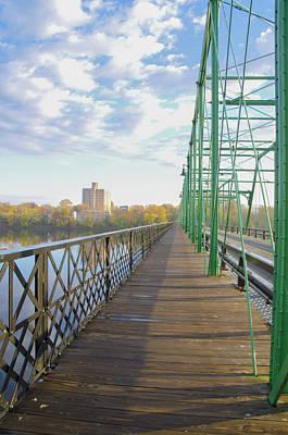 Walkway Digital Art - Calhoun Street Bridge Walkway - Morrisville To Trenton by Bill Cannon
