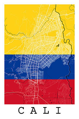 Cali Digital Art - Cali Street Map - Cali Colombia Road Map Art On Colombian Flag Background by Jurq Studio