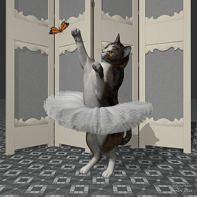 Calico Ballet Cat On Paw-te Art Print by Andre Price