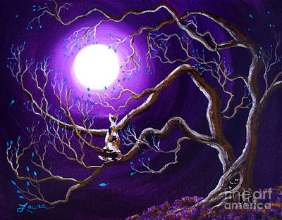 Surreal Painting - Calico Cat In Haunted Tree by Laura Iverson