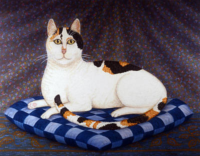 Kitten Painting - Calico Cat Portrait by Linda Mears