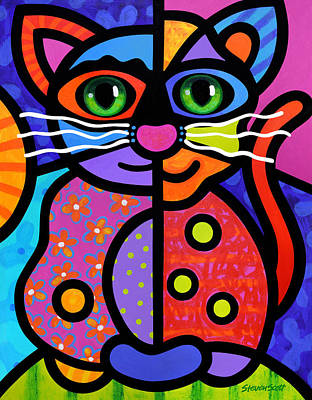 Painting - Calico Cat by Steven Scott