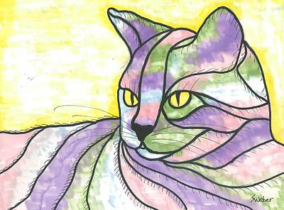 Art Print featuring the painting Calico Cat by Susie Weber