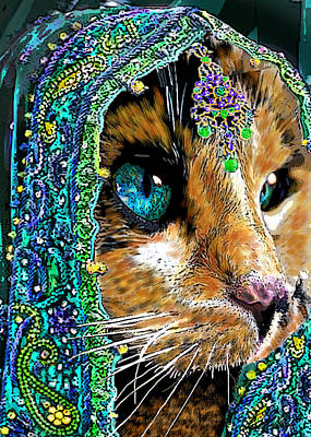 Calico Indian Bride Cats In Hats Art Print