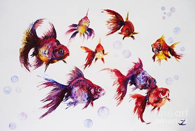 Painting - Calico Ryukin Goldfish by Zaira Dzhaubaeva