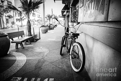Main Street Photograph - California Beach Cruiser Bike Black And White Photo by Paul Velgos