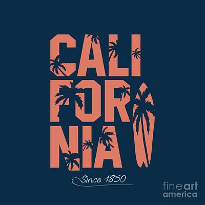 Surf Boards Wall Art - Digital Art - California Beach Typography Graphics by Yevgenij d
