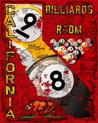 Billiards Hall Digital Art - California Billiards Room by David G Paul