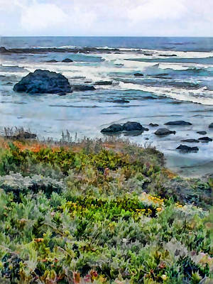 Sand Dunes Painting - California Central Coast Near San Simeon by Elaine Plesser