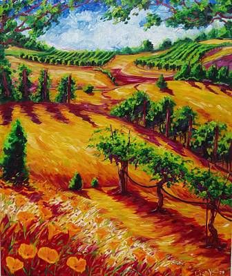 Napa Valley Vineyard Painting - California Chardonnay by Lisa V Maus