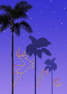 Bells Painting - California Christmas Palm Trees by Mary Helmreich