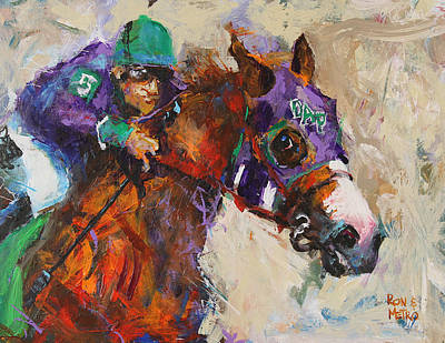 Horses Painting - California Chrome by Ron and Metro
