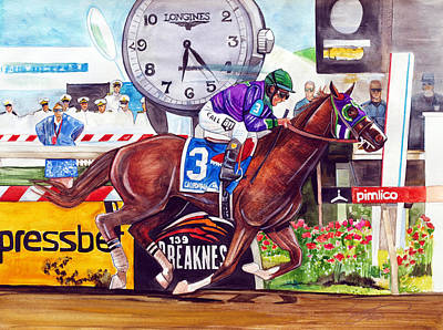 Dave Drawing - California Chrome Wins The Preakness Stakes by Dave Olsen