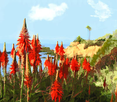 Sand Dunes Painting - California Coastline With Red Hot Poker Plants by Elaine Plesser