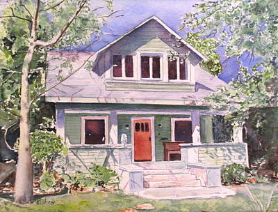 Charming Cottage Painting - California Craftsman Cottage by Patricia Pushaw