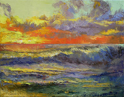 Ocean Storm Painting - California Dreaming by Michael Creese