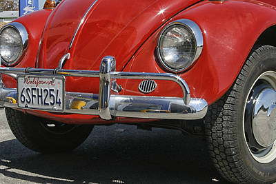 California Bugs Photograph - California Dreaming - Red Volkswagen Beetle Front by Georgia Fowler
