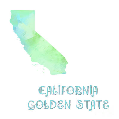 Digital Art - California - Golden State - Map - State Phrase - Geology by Andee Design