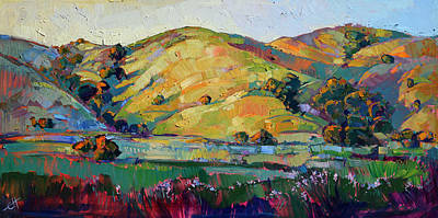Windy Hill Painting - California Greens by Erin Hanson