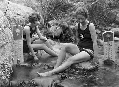 One Piece Swimsuit Photograph - California Hot Springs by Underwood Archives