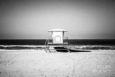 Black Stand Photograph - California Lifeguard Tower Black And White Picture by Paul Velgos