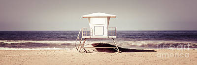 California Lifeguard Tower Retro Panoramic Picture Art Print