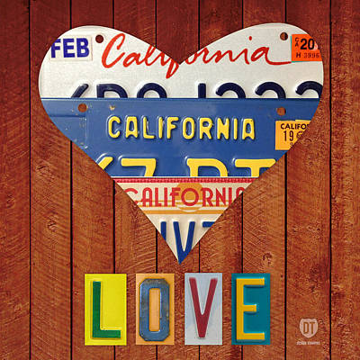 California Love Heart License Plate Art Series On Wood Boards Art Print by Design Turnpike