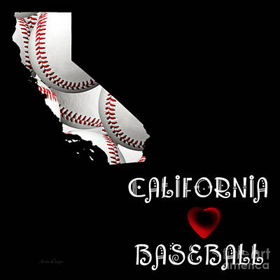Digital Art - California Loves Baseball by Andee Design