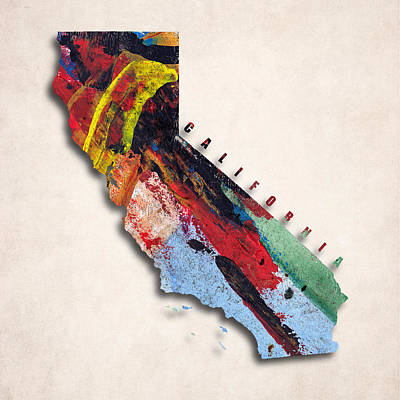 State Of California Digital Art - California Map Art - Painted Map Of California by World Art Prints And Designs