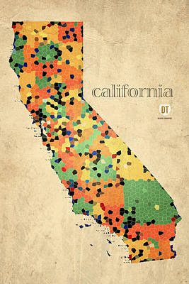 California Map Crystalized Counties On Worn Canvas By Design Turnpike Print by Design Turnpike