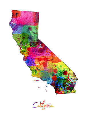 Travel Digital Art - California Map by Michael Tompsett