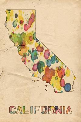 Painting - California Map Vintage Watercolor by Florian Rodarte
